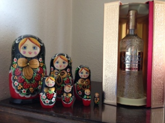 Russian Matryoshka Dolls and Russian Standard Gold Vodka